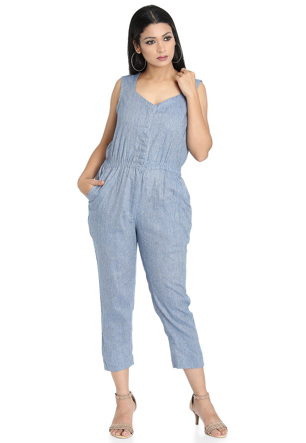 Plain Linen Cotton Jumpsuit in Blue