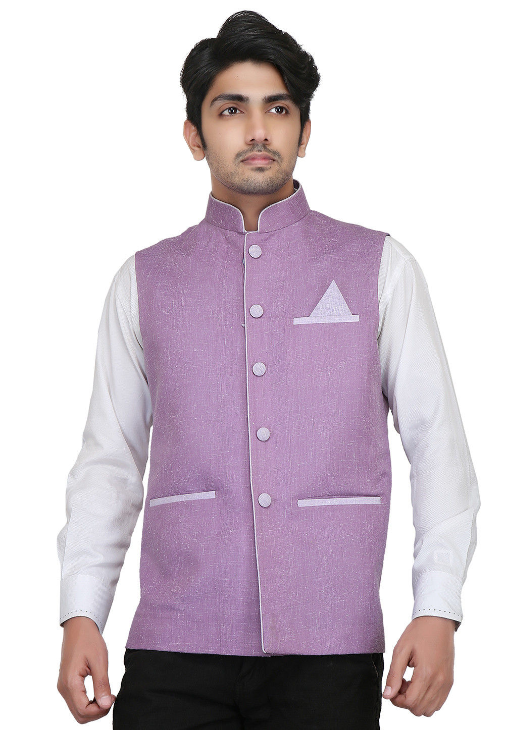 Plain Linen Cotton Nehru Jacket in Light Purple