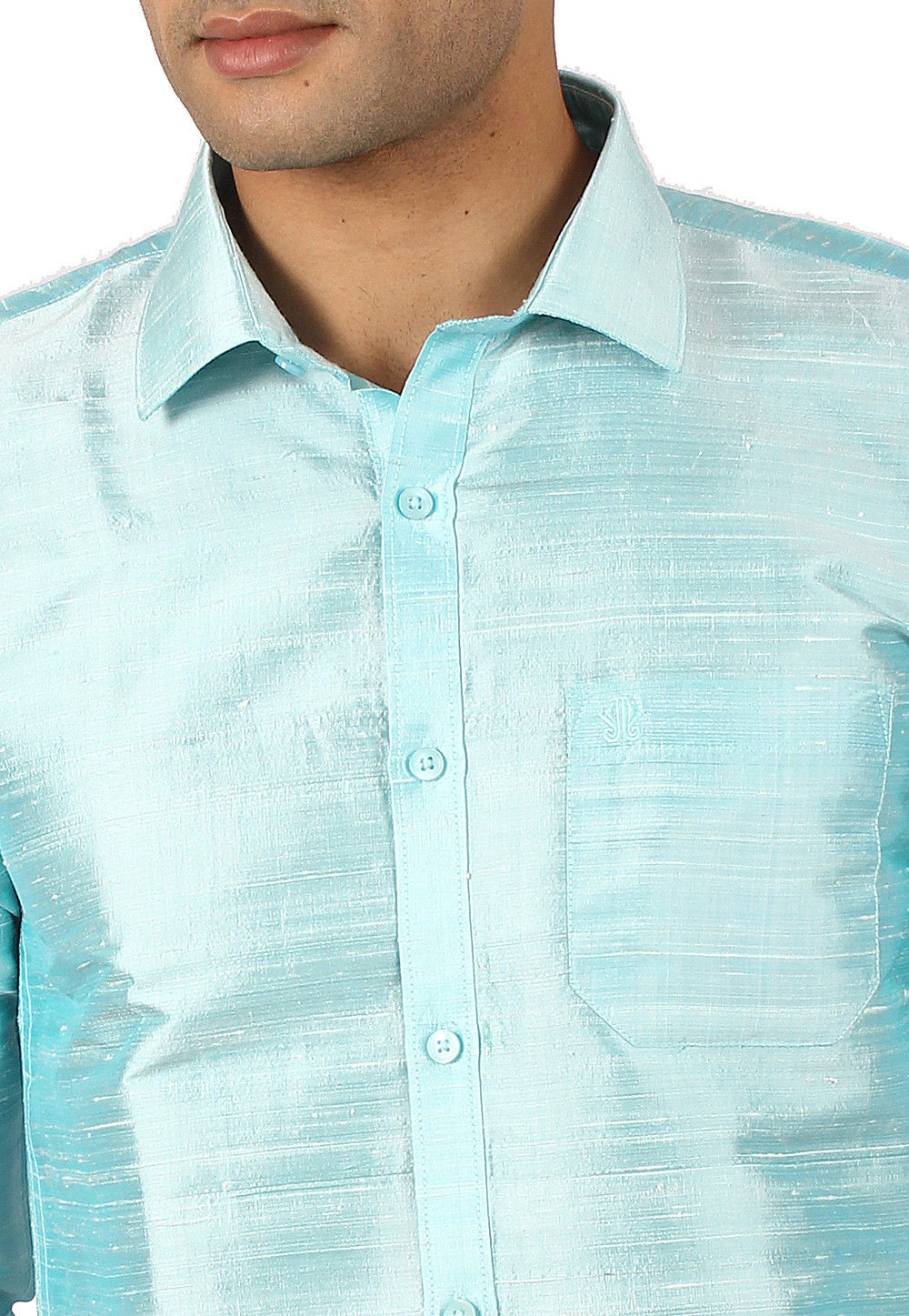3a79c920e7369f Plain Pure Dupion Silk Shirt in Light Blue   MXT55