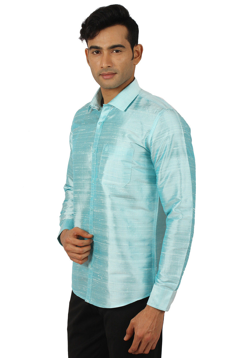 cdbcd2cad6ec0b Plain Pure Dupion Silk Shirt in Light Blue · Zoom. View Similar