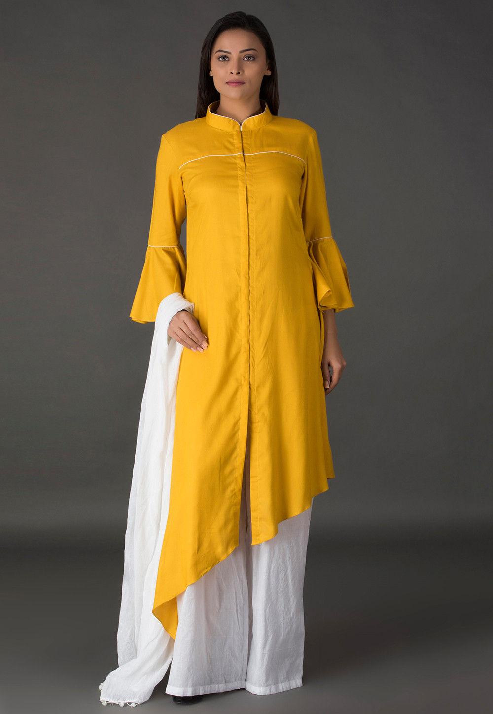 Plain Rayon Asymmetric Pakistani Suit in Mustard