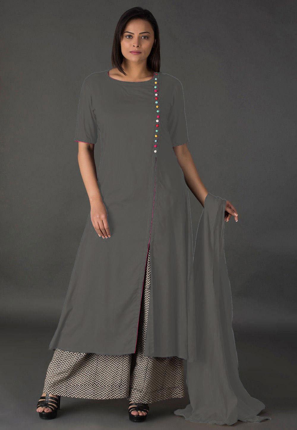 Plain Rayon Pakistani Suit in Grey