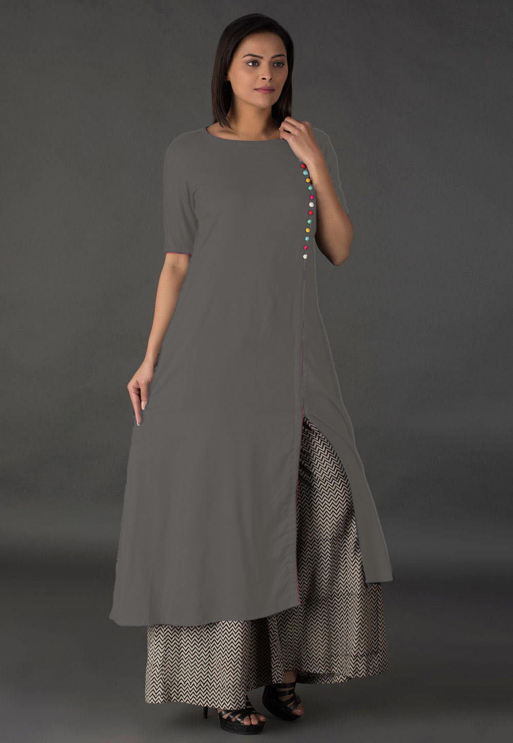 Plain Rayon Side Slit Long Kurta in Grey