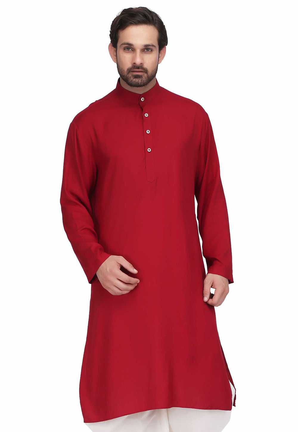 Plain Rayon Straight Kurta in Maroon