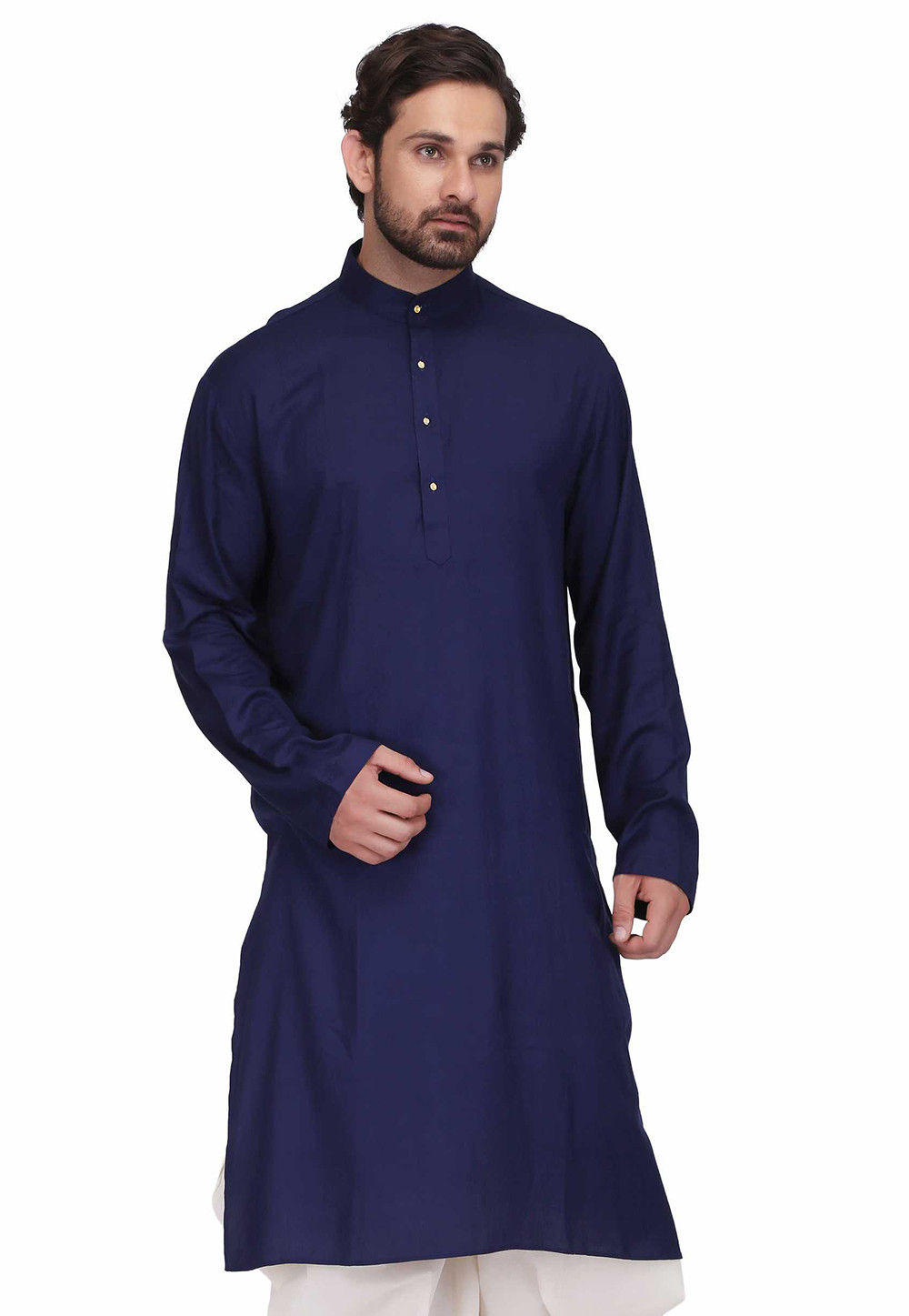 Plain Rayon Straight Kurta in Royal Blue