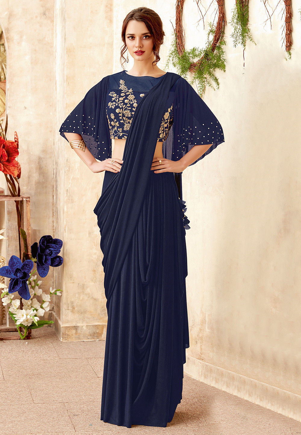 a48d7e533ec4 Pre-stitched Lycra Cowl Style Saree in Navy Blue   SWS5840