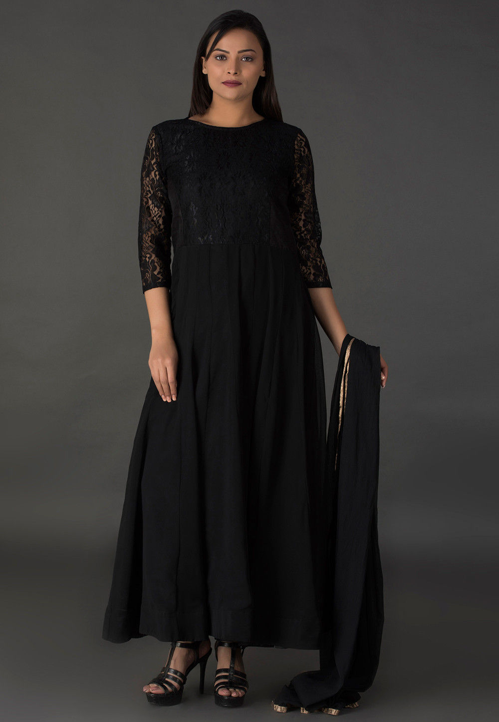 Princess Cut Georgette Abaya Style Suit in Shaded Black