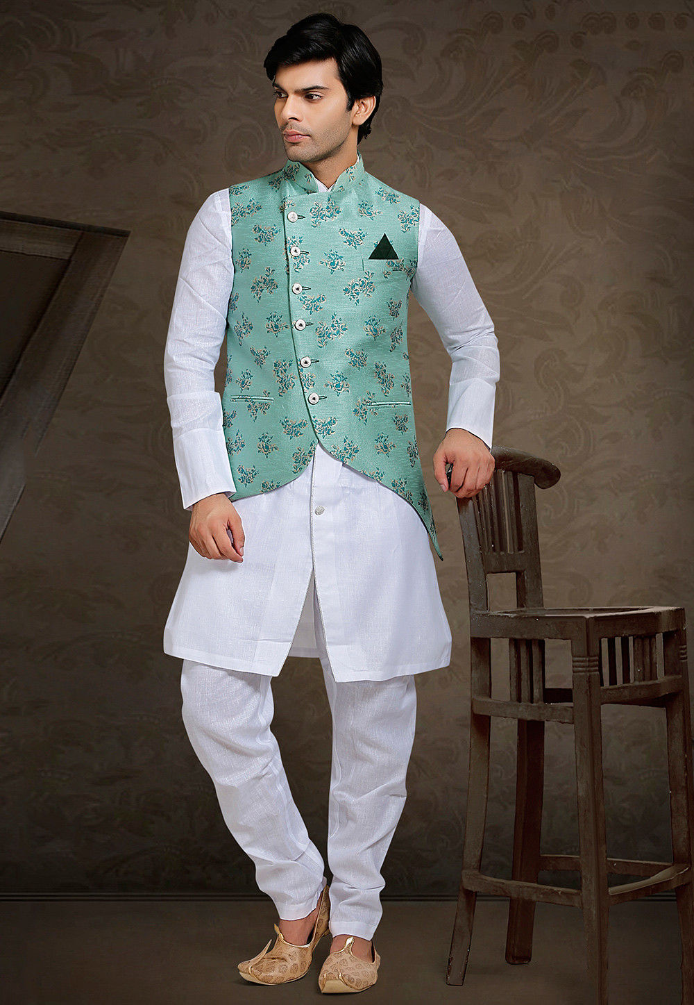 Printed Art Silk Asymmetric Nehru Jacket in Sea Green