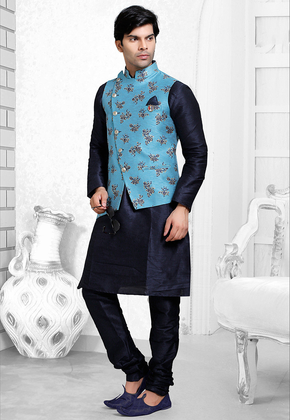 Printed Art Silk Nehru Jacket in Blue
