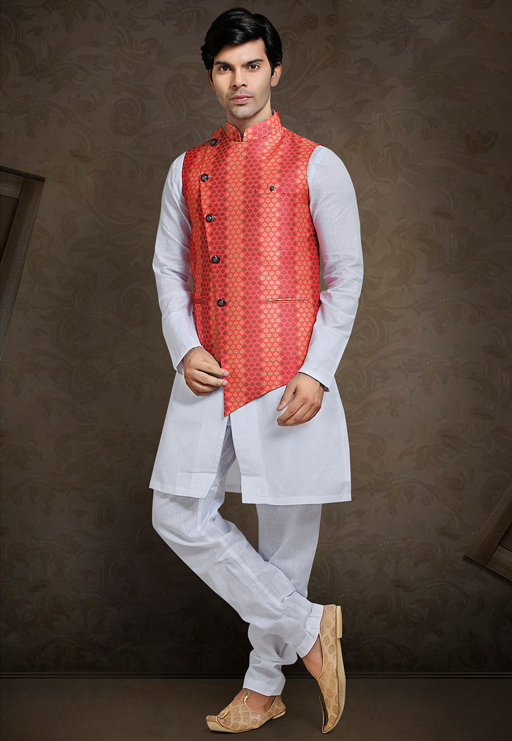 Printed Art Silk Nehru Jacket in Dark Peach