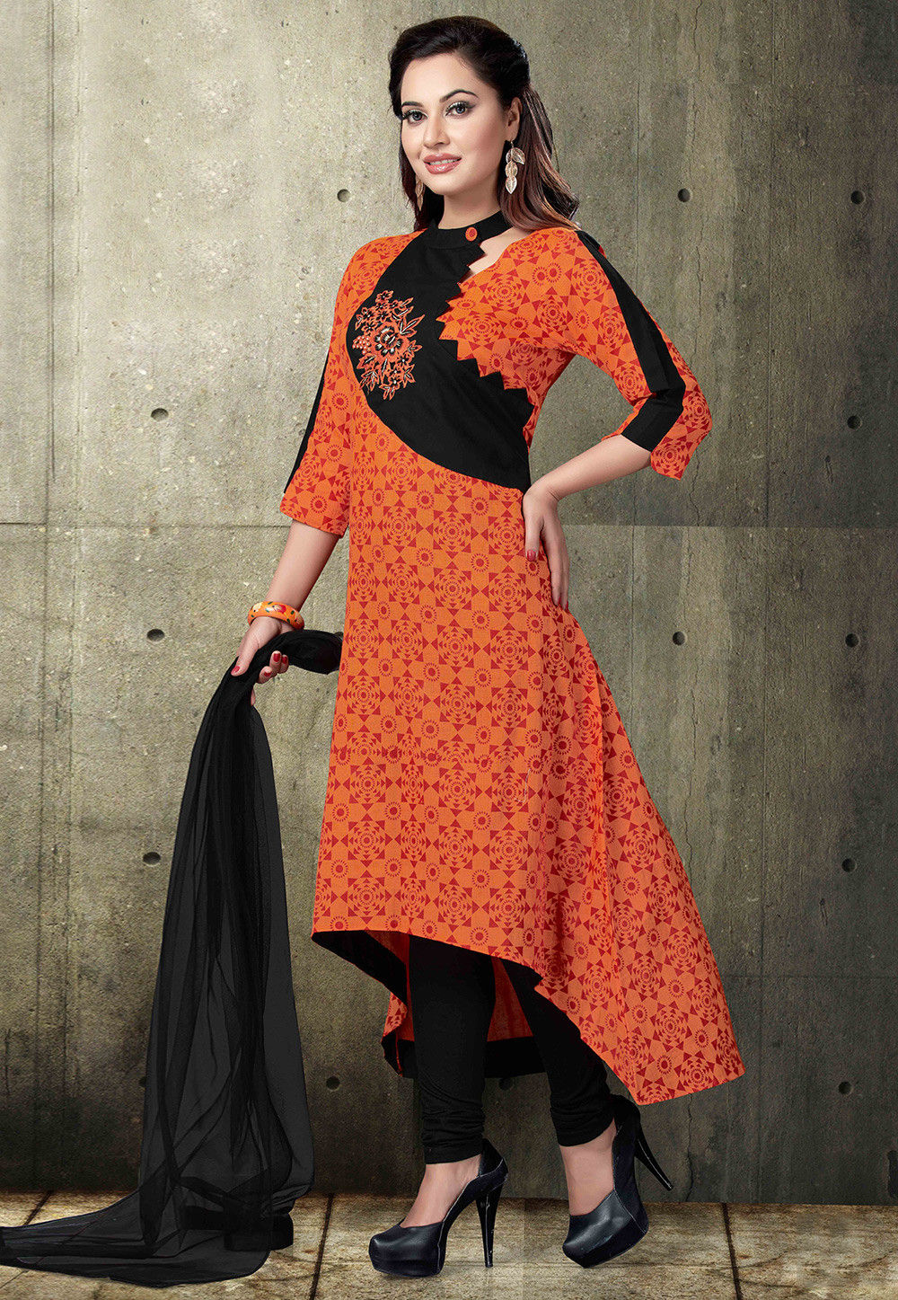 Printed Cotton A Line Suit in Orange