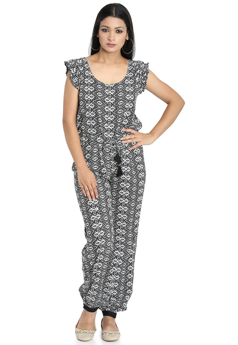 9cb274b65de Printed Cotton Jumpsuit in Black and White · Zoom