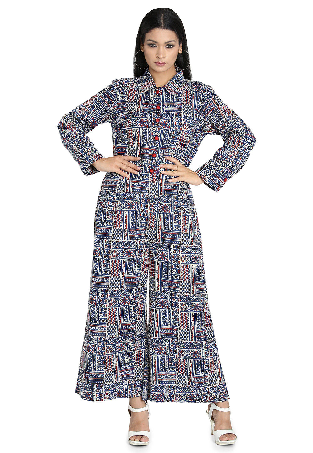 Printed Cotton Jumpsuit in Blue and Multicolor
