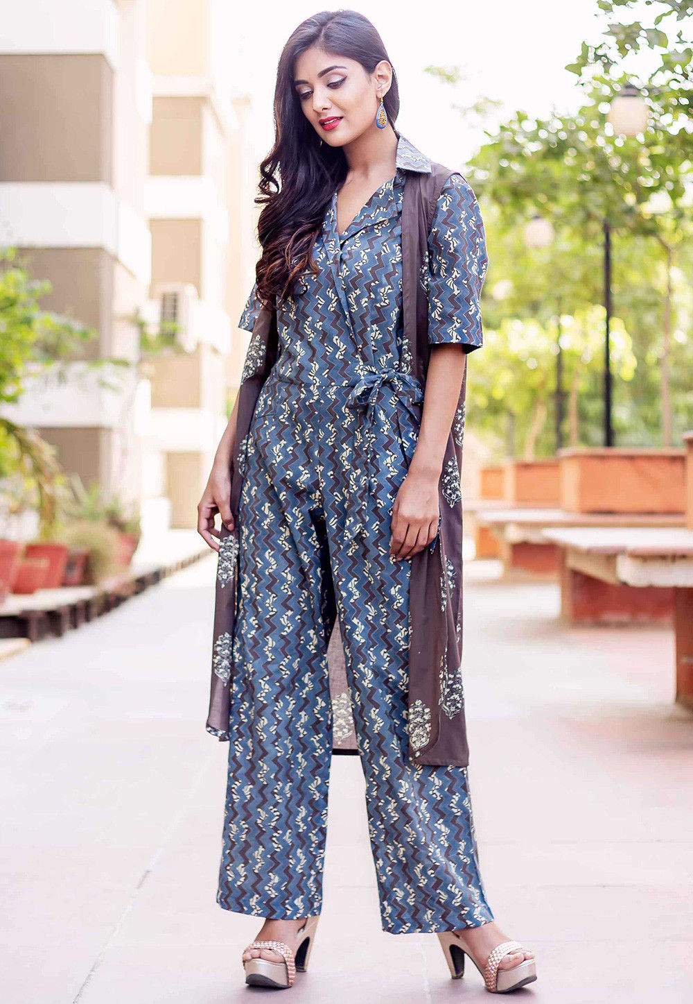 4a30d7391f6 Printed Cotton Jumpsuit in Blue · Zoom