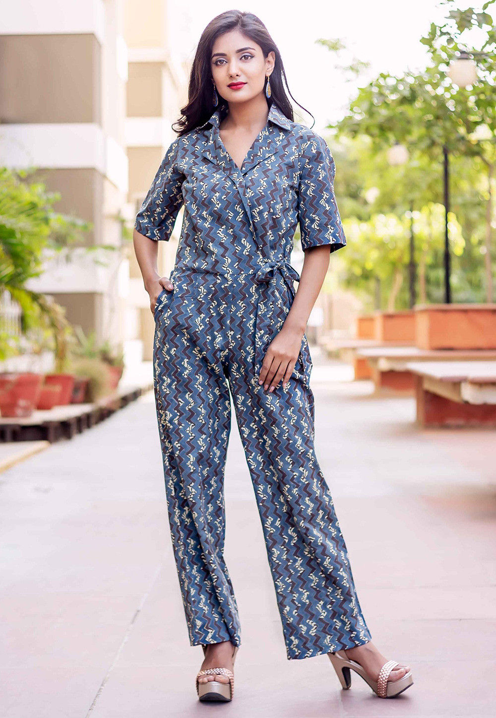 01f7e00e7275 Printed Cotton Jumpsuit in Blue   TQM312