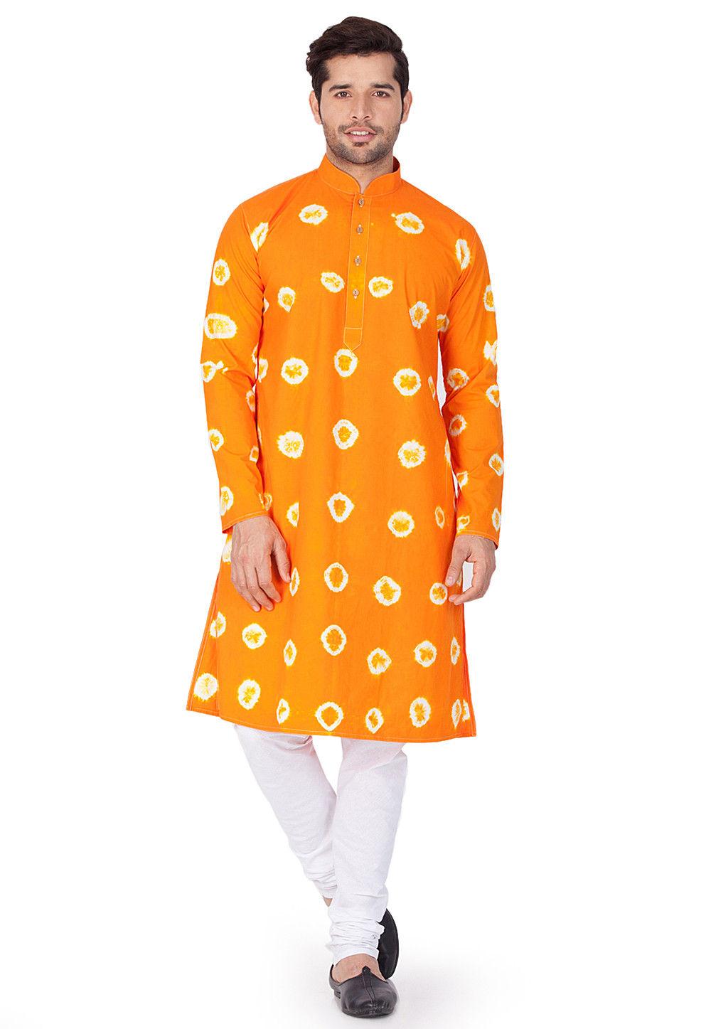 Printed Cotton Kurta in Orange