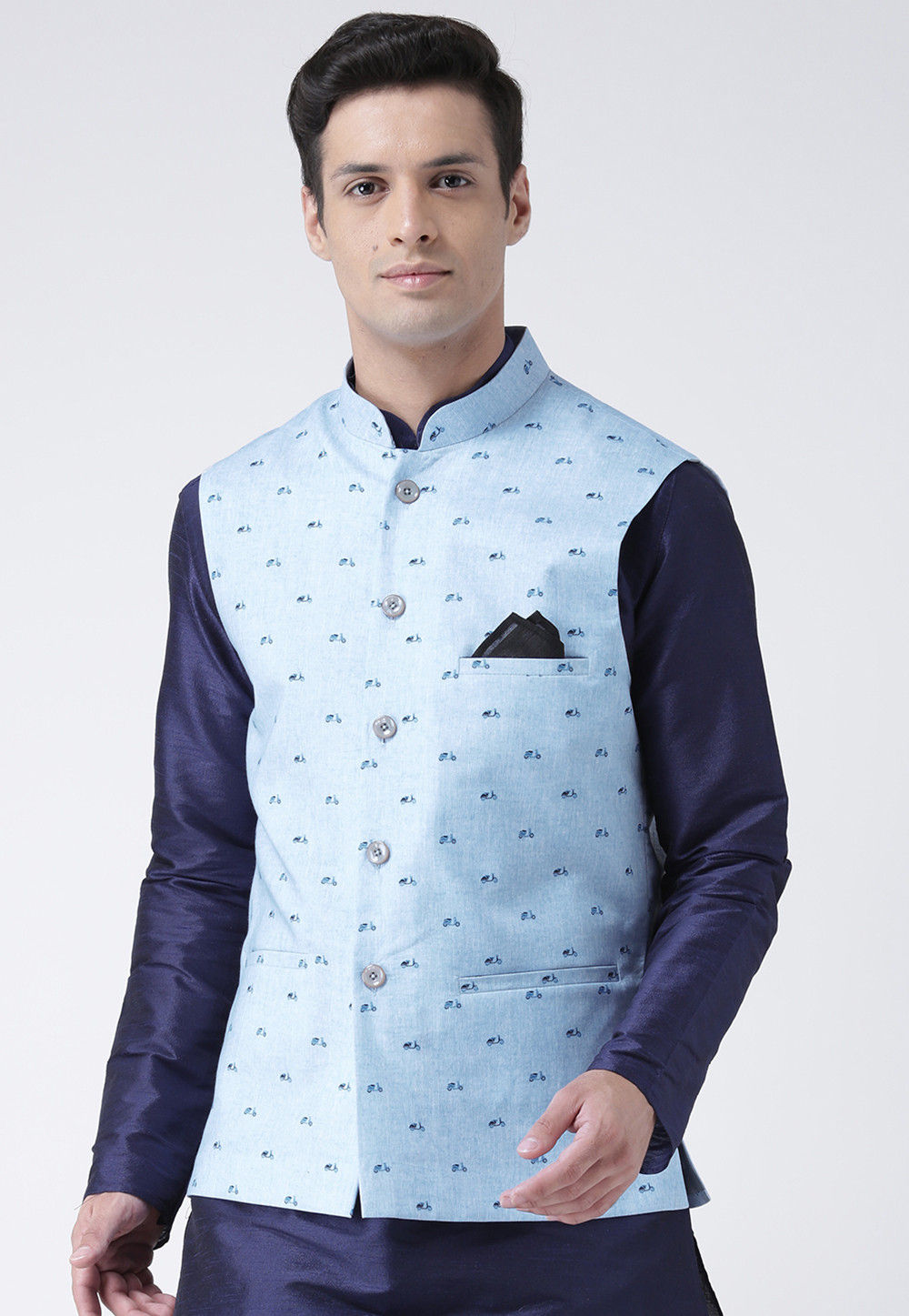 b561b1f11a7 ... Printed Cotton Linen Nehru Jacket in Light Blue. Zoom