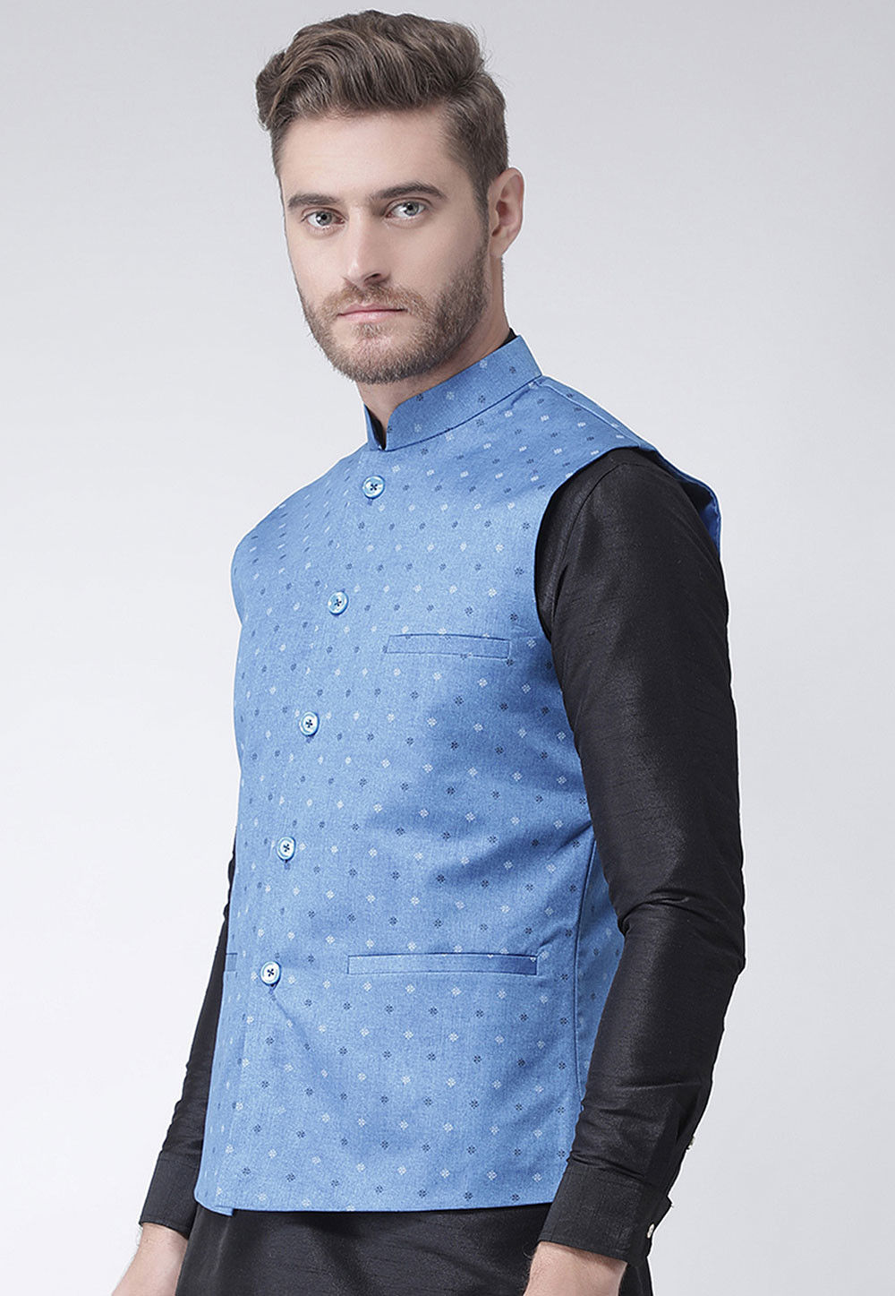 be9cf35507f ... Printed Cotton Linen Nehru Jacket in Light Blue. Zoom. View Similar