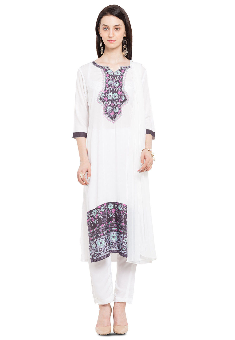 Printed Cotton Pakistani Suit in Off White
