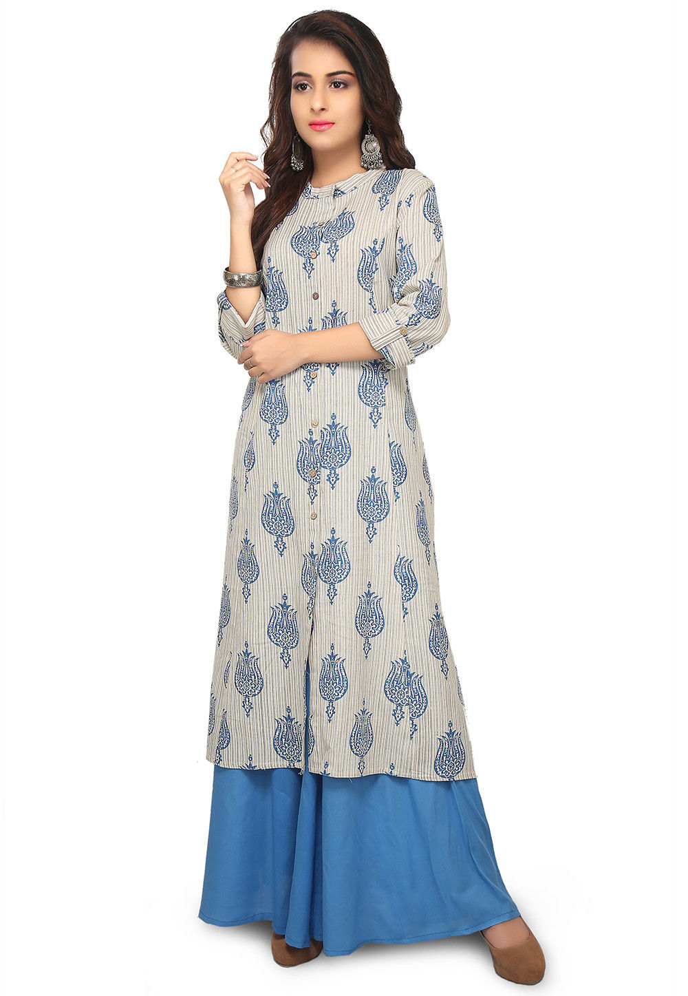 65ea019fb4 Printed Cotton Straight Kurta with Palazzo in Off White : TVT193