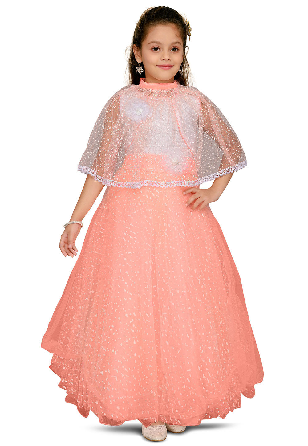 Printed Net Flared Gown in Peach : UBX210