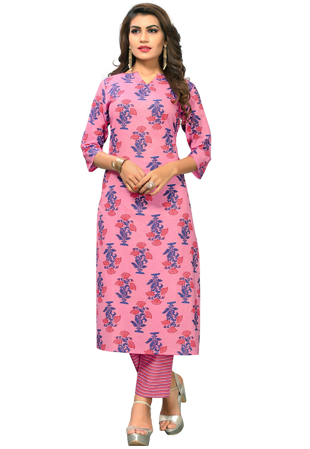 Printed Poly Cotton Kurta Set in Light Pink