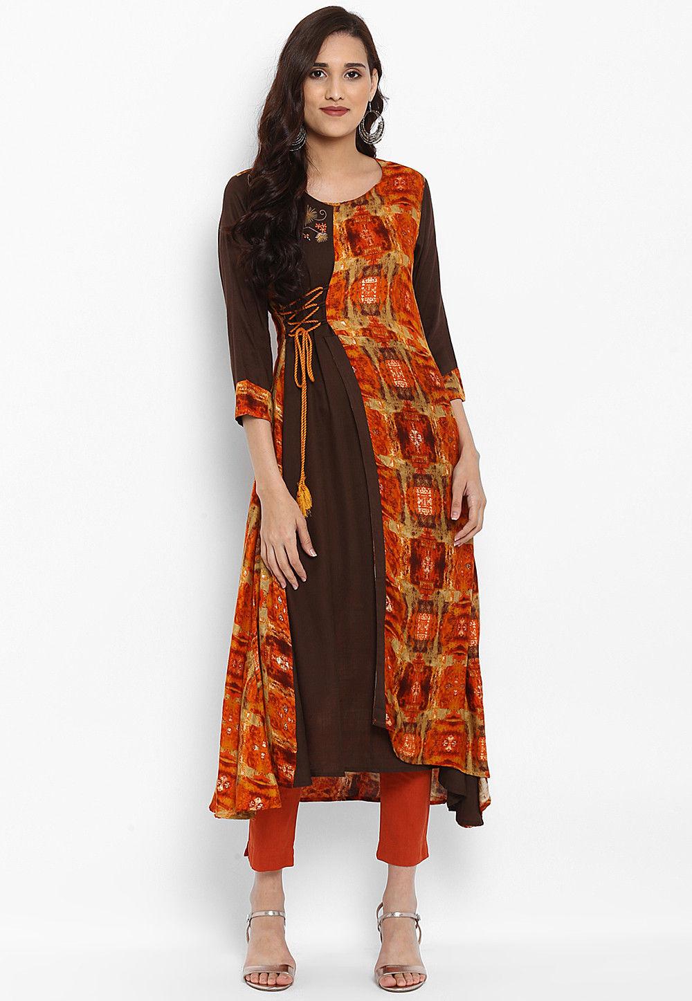 Printed Rayon Layered Kurta in Orange and Brown