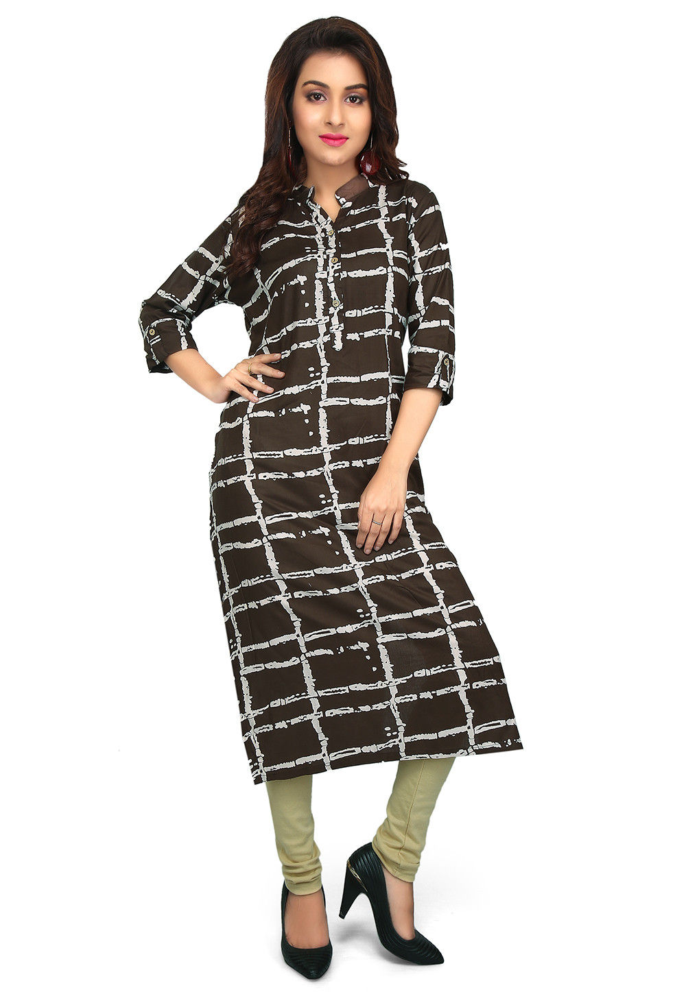 Printed Rayon Straight Kurta in Dark Brown