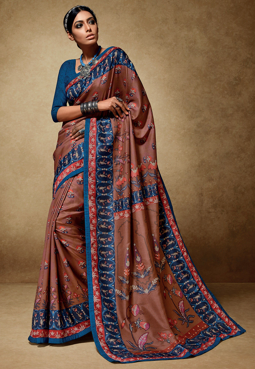 Printed Tussar Silk Saree in Brown