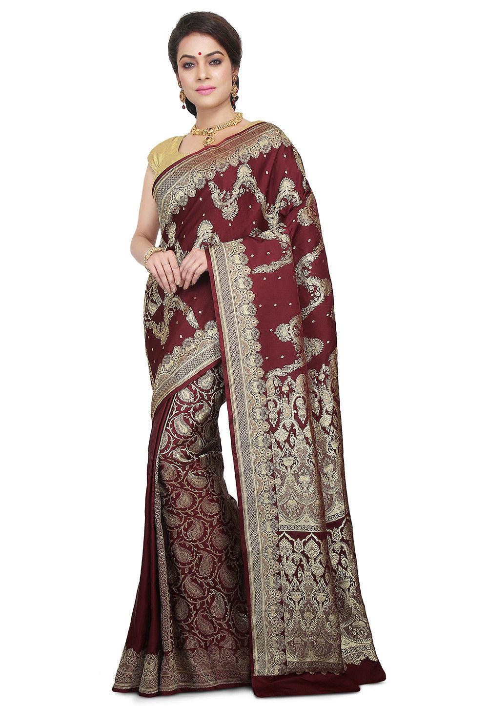 f9ffd7338b Pure Banarasi Silk Handloom Saree in Dark Maroon : SNEA1254