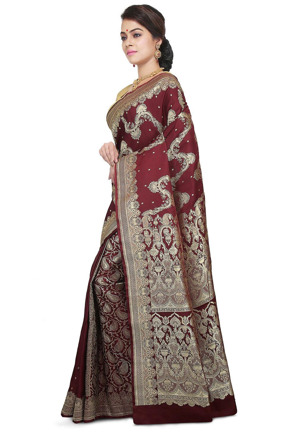 6b2c1e32be ... Pure Banarasi Silk Handloom Saree in Dark Maroon. Zoom. View Similar