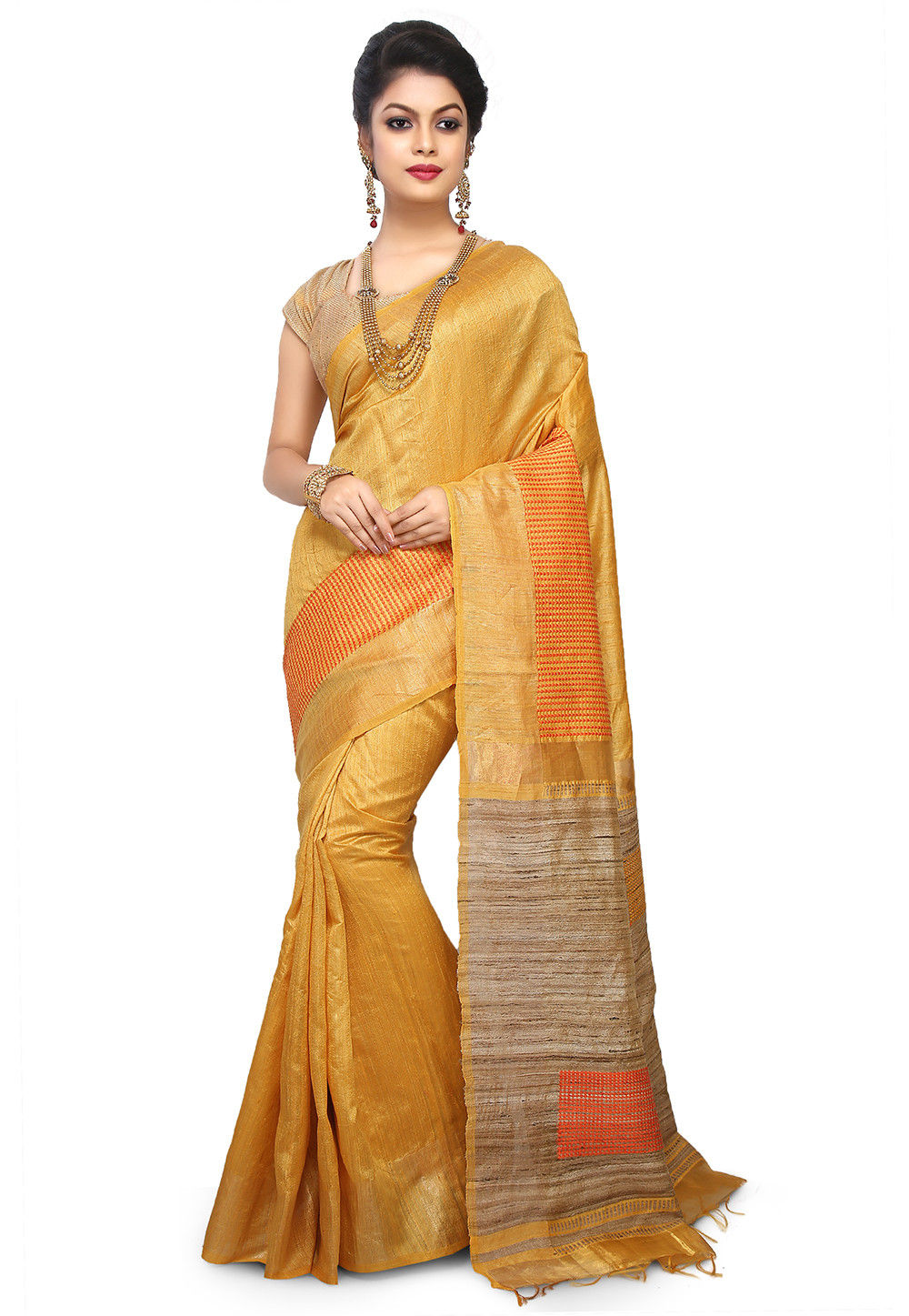 314987e9b5c2db Pure Dupion Silk Handloom Saree in Yellow   SBRA1306