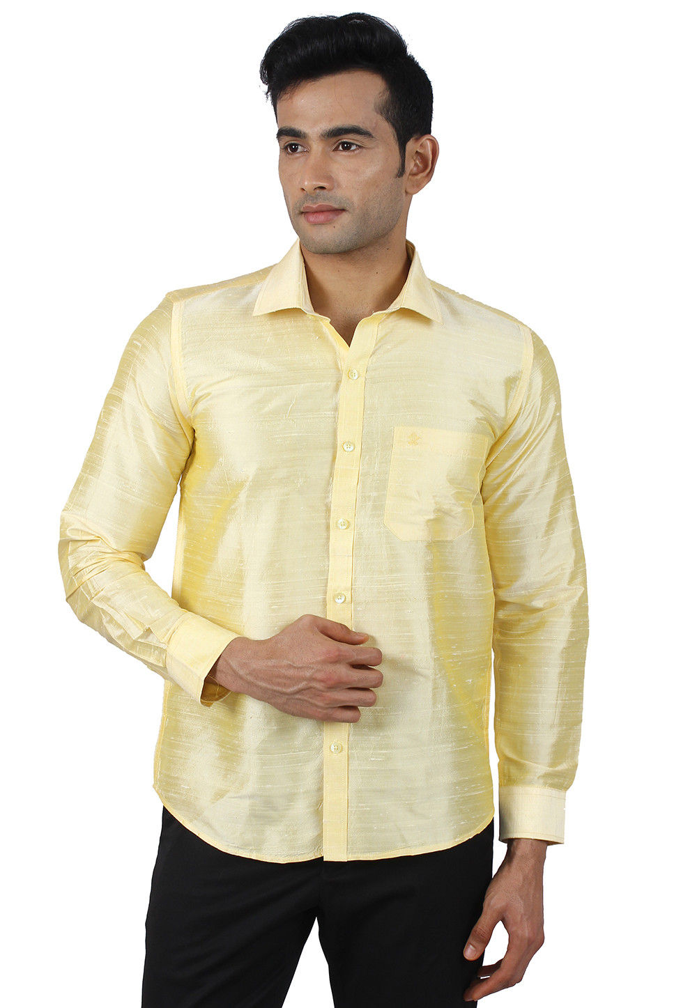 c769b6a59 ... Pure Dupion Silk Shirt in Light Yellow. Zoom
