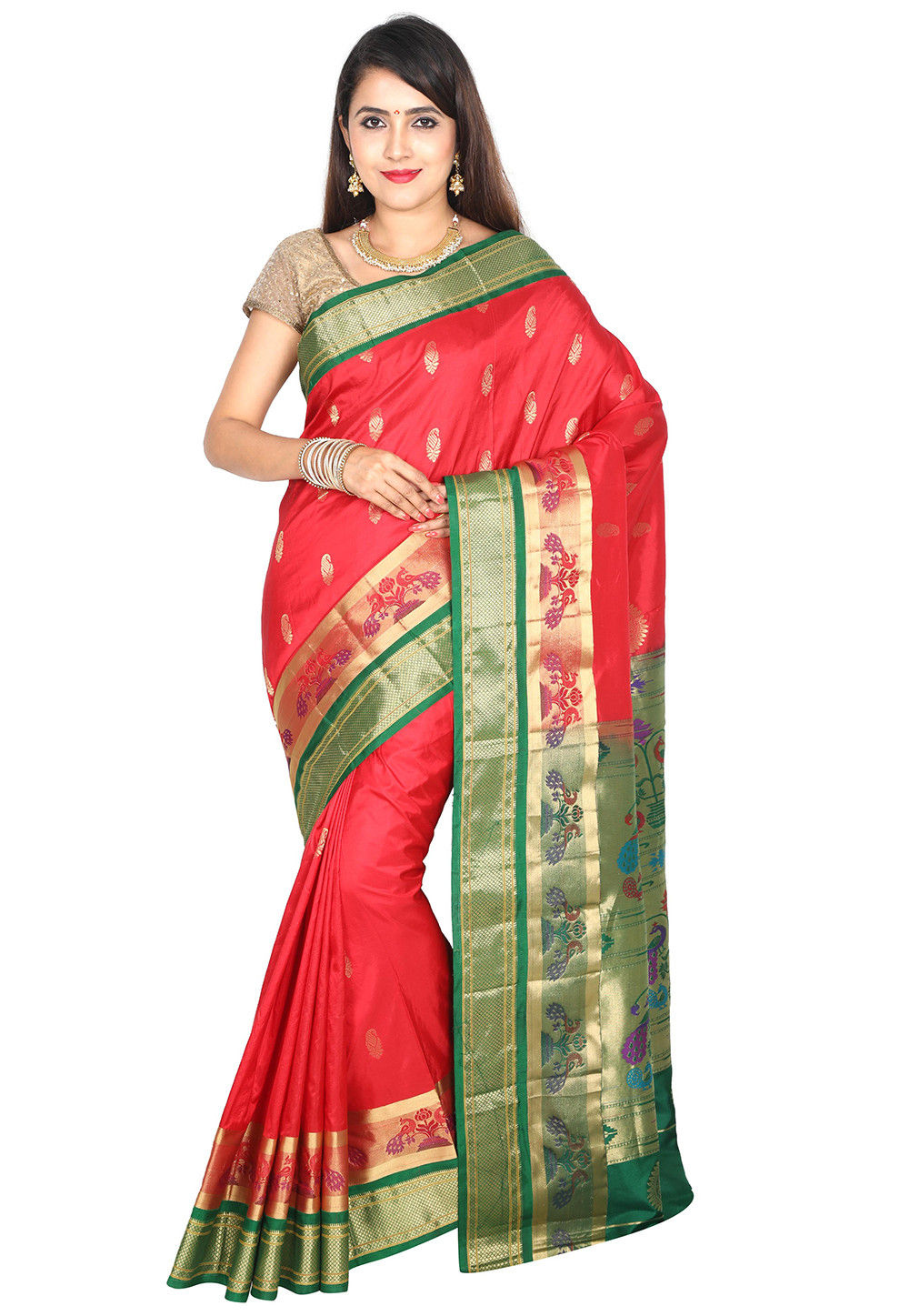 6280778a10 ... Pure Paithani Silk Saree in Red. Zoom
