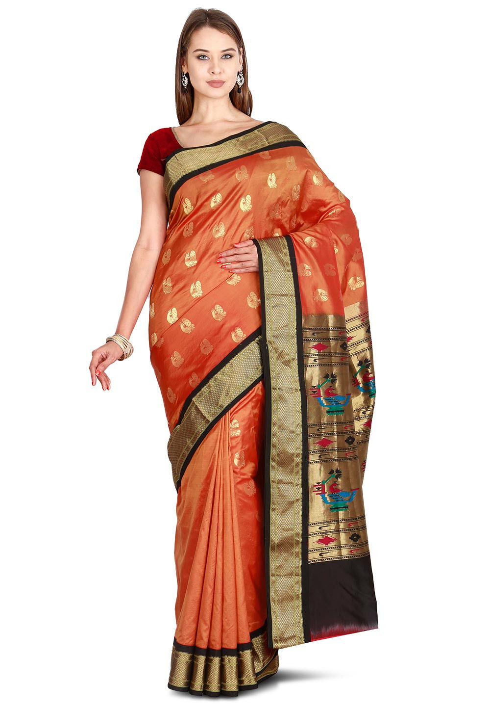 f6a295f622 ... Pure Paithani Silk Saree in Rust. Zoom