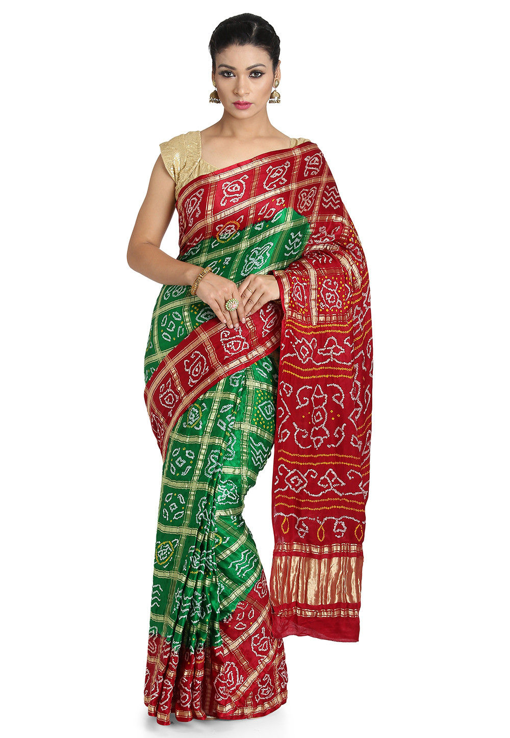 Pure Satin Silk Gharchola Saree in Green and Maroon