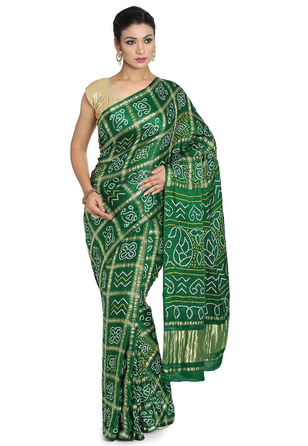 Pure Satin Silk Gharchola Saree in Green