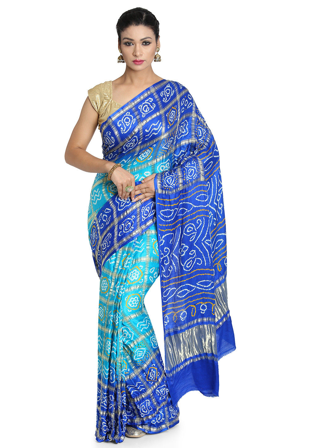 Pure Satin Silk Gharchola Saree in Turquoise and Royal Blue