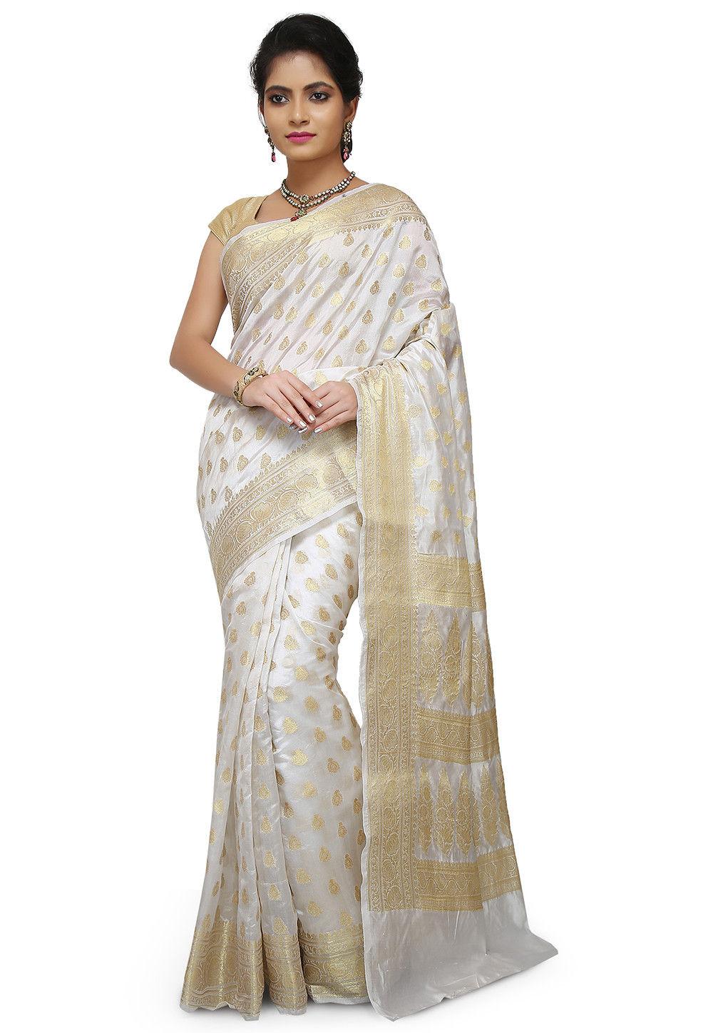 White Saree Tamanna In Veeram: Pure Silk Banarasi Saree In White : SNEA1341