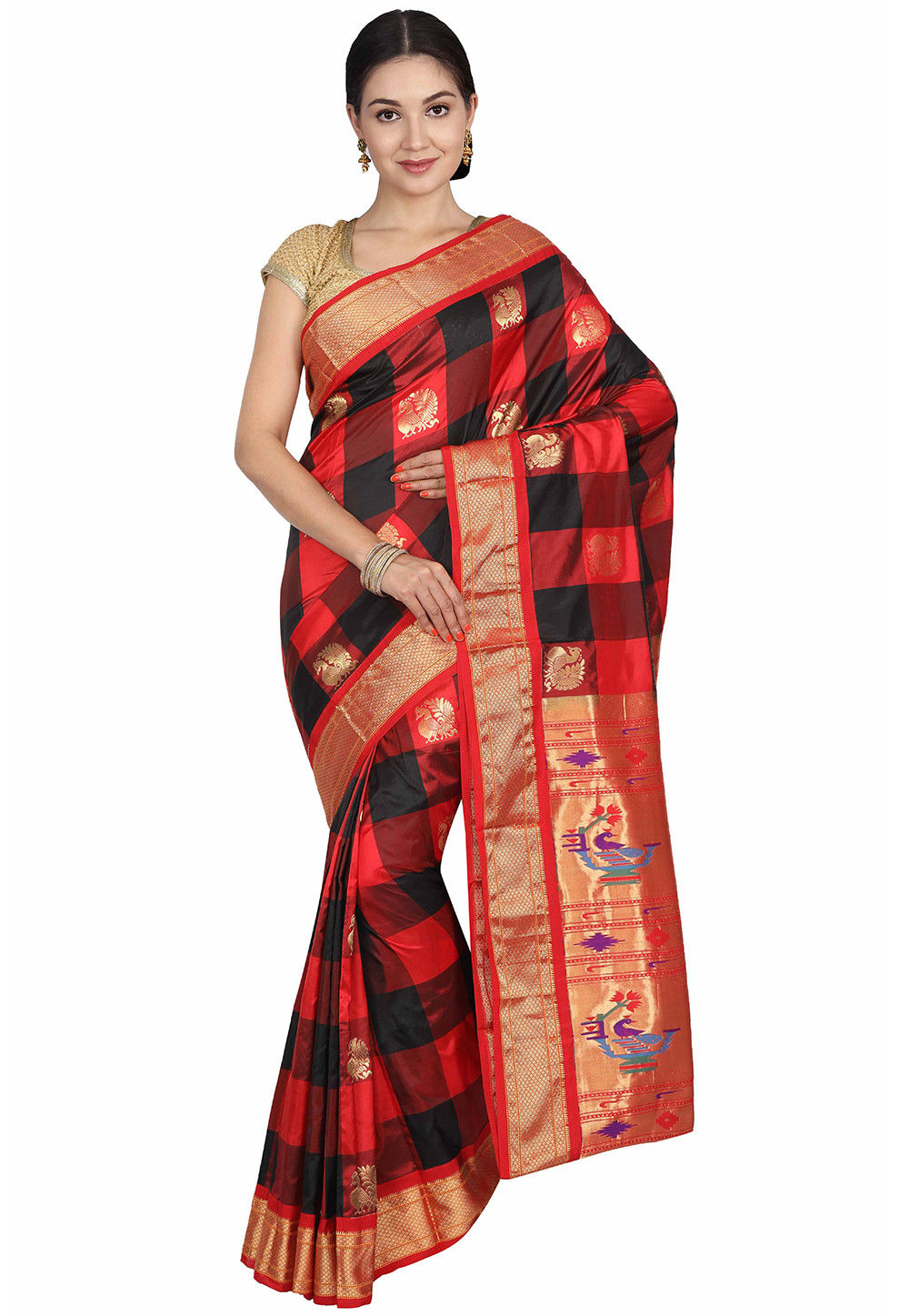 8ecbb5e43434fe ... Pure Silk Paithani Saree in Red and Black. Zoom