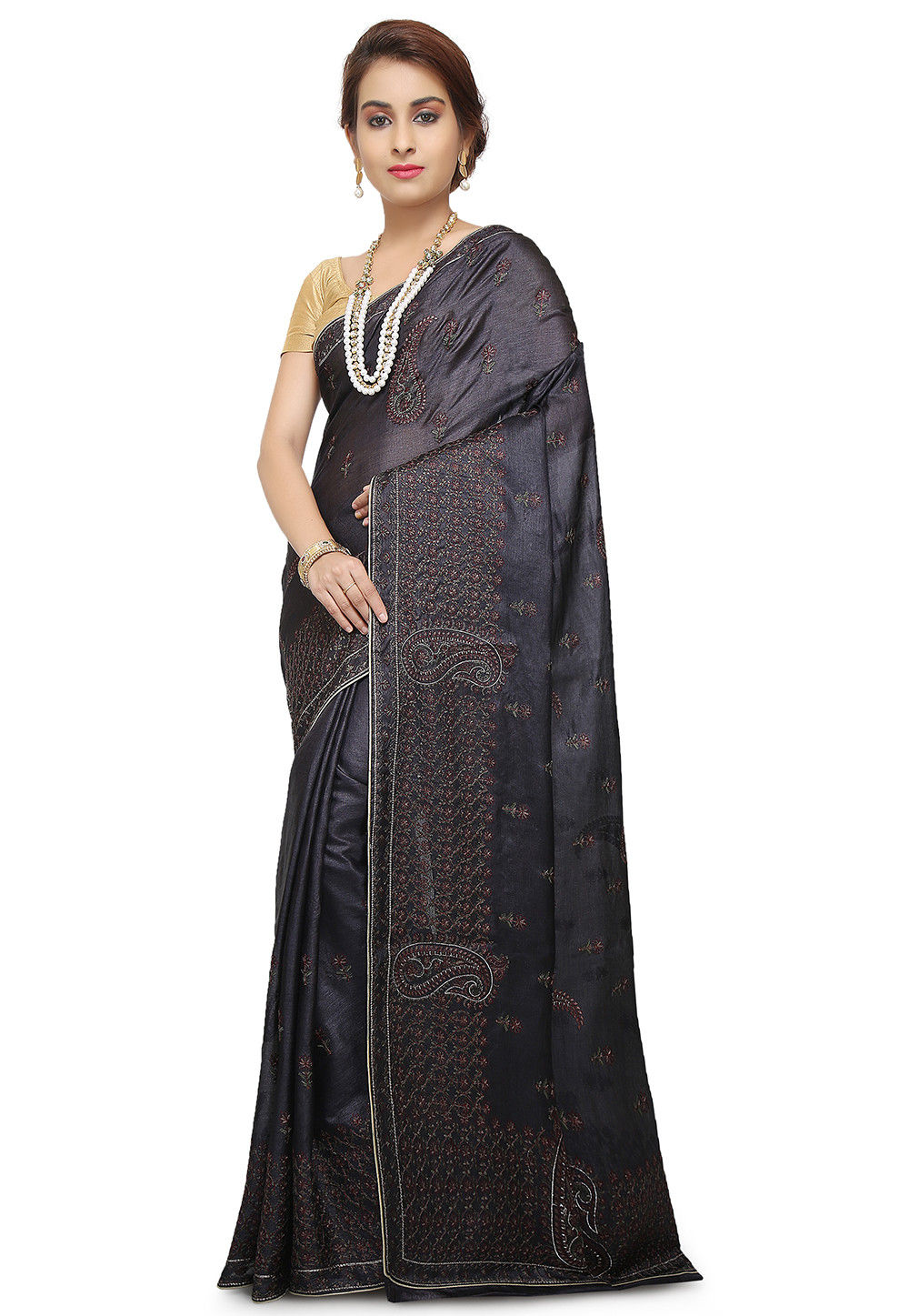 6719776fad Pure Tussar Silk Banarasi Saree in Black : SNEA1343