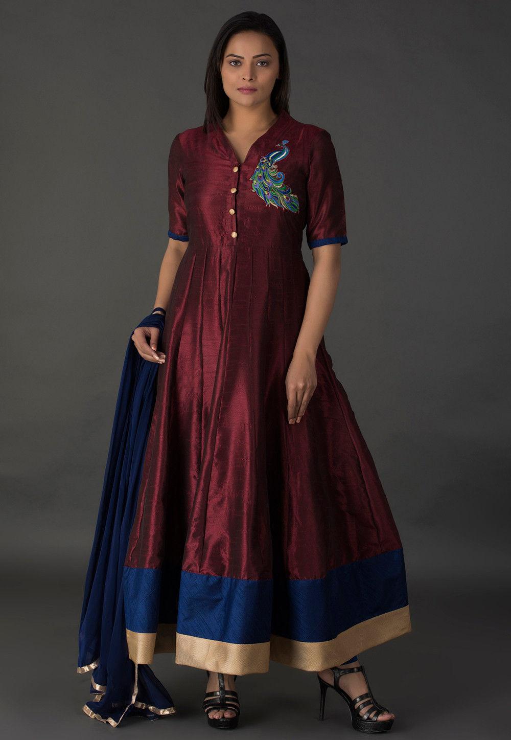 Resham Bhagalpuri Silk Abaya Style Suit in Wine