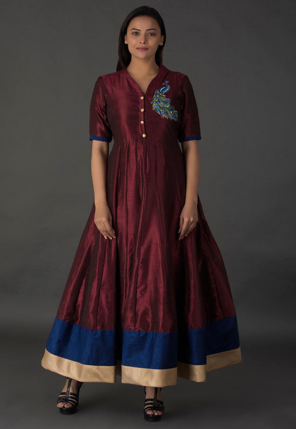 Resham Bhagalpuri Silk Long Kurta in Wine