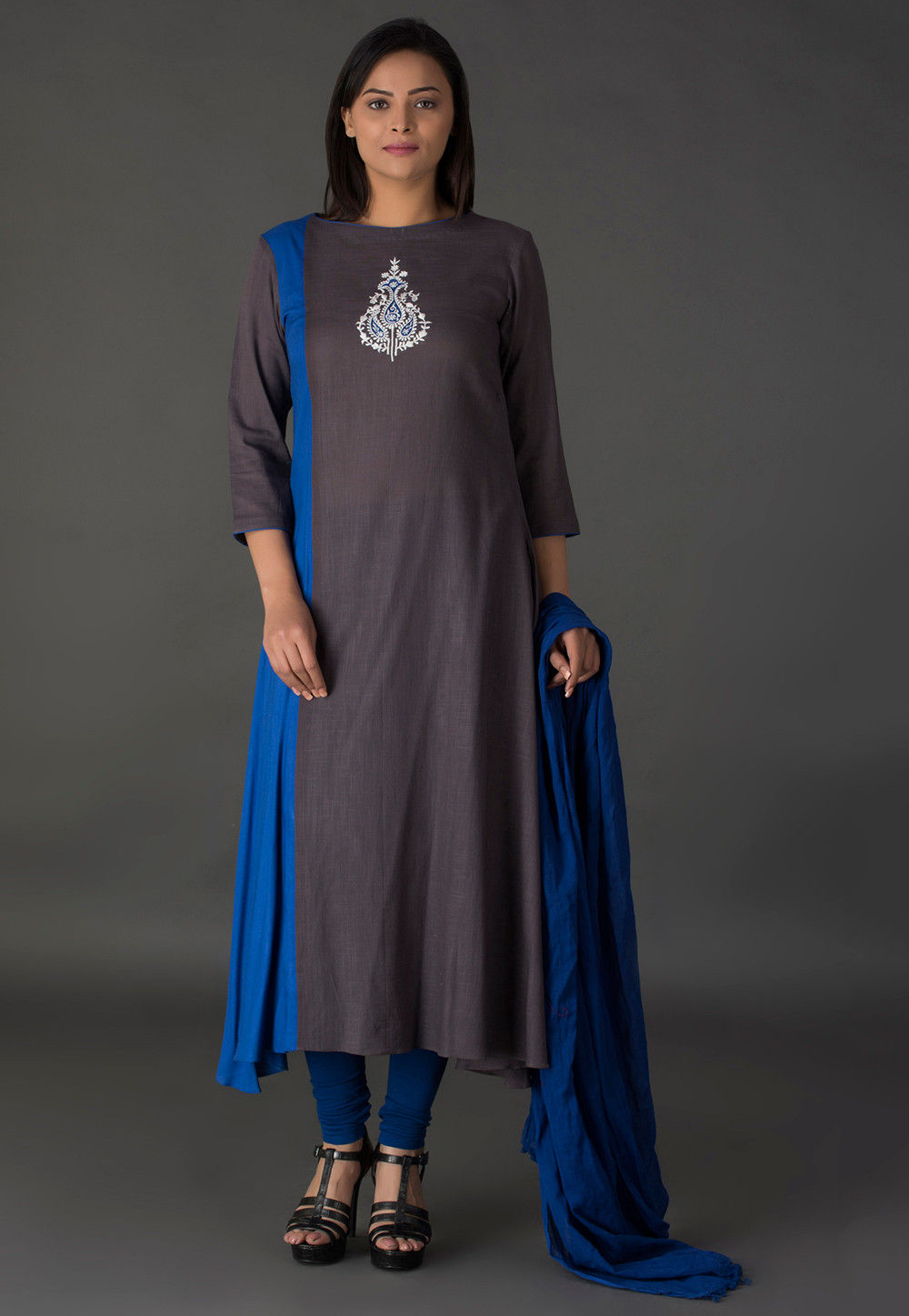 Resham Rayon Slub A Line Suit in Grey and Blue