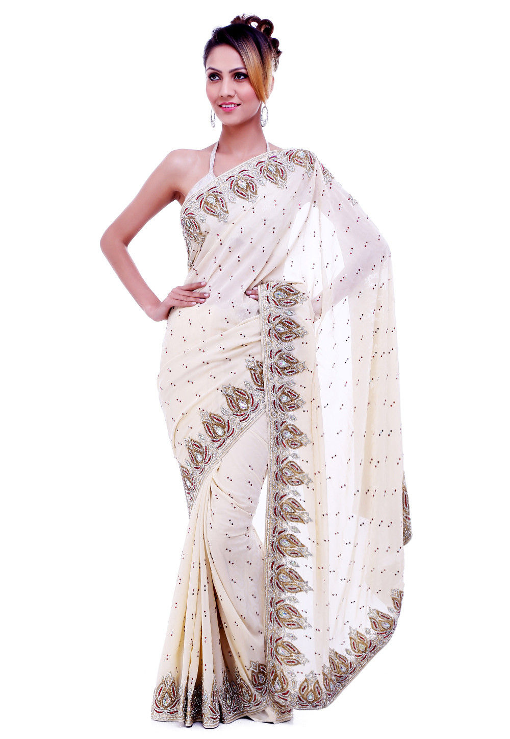 Hand Embroidered Crepe Saree in Off White