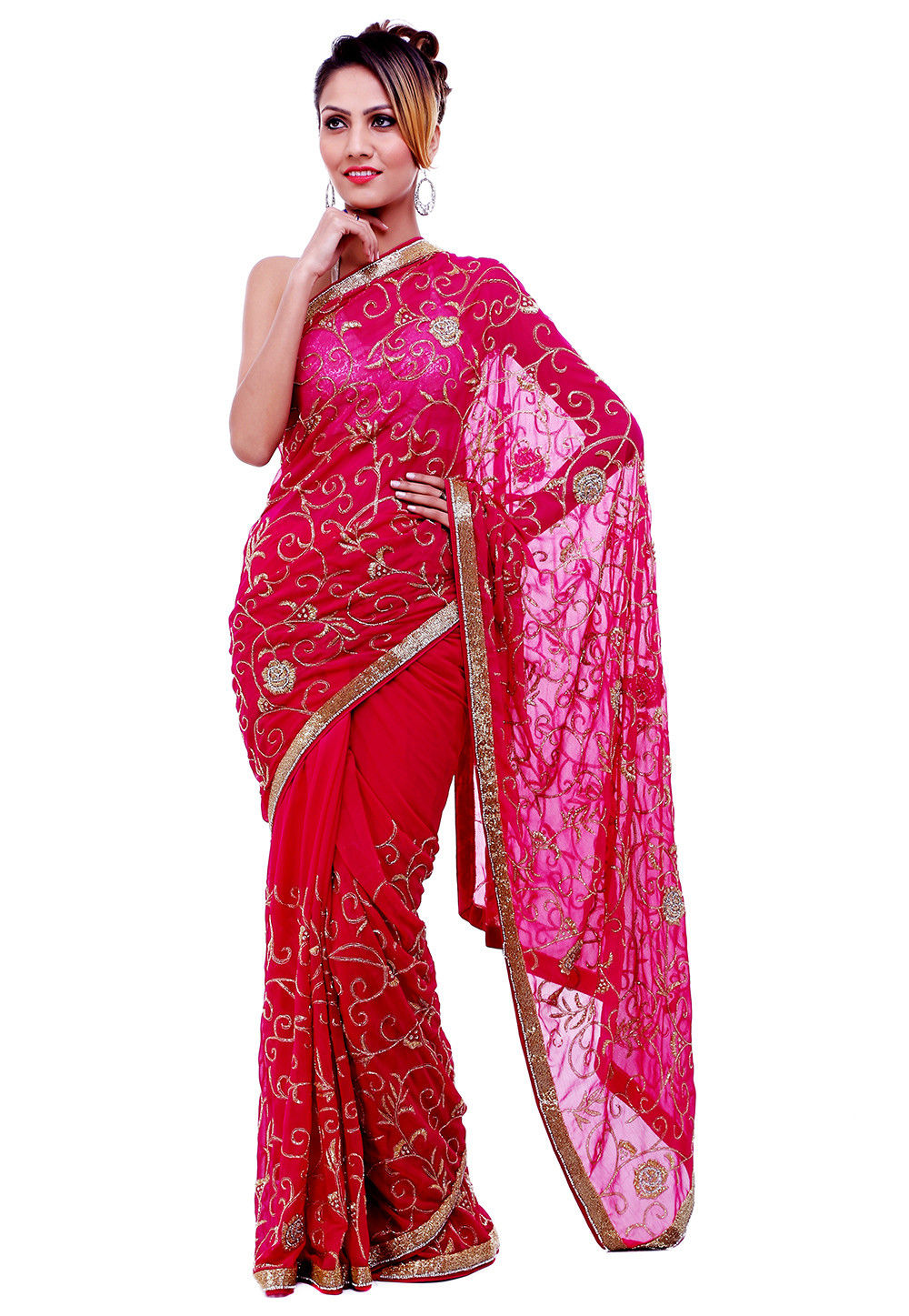 Hand Embroidered Chiffon Saree in Fuchsia