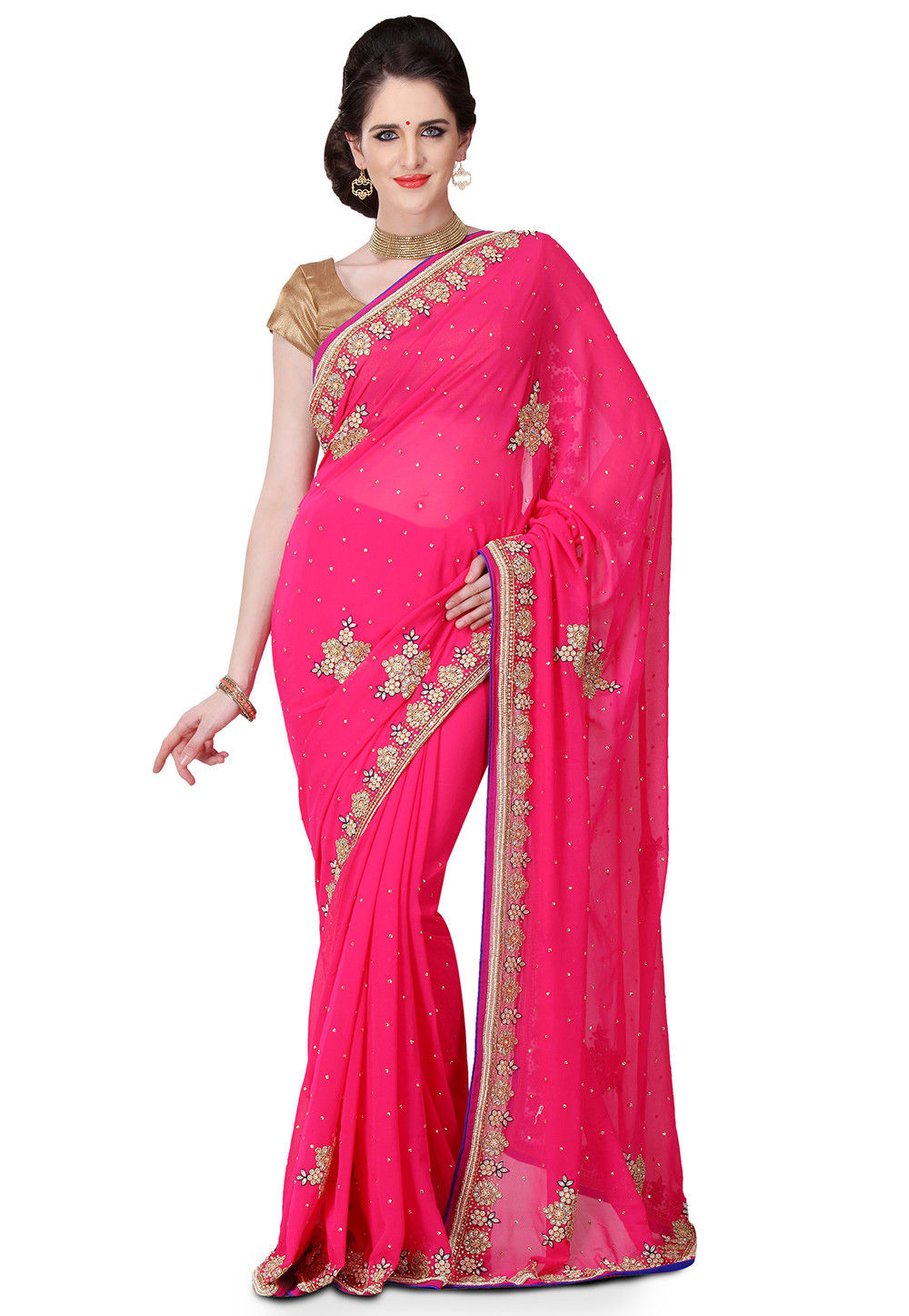 Hand Embroidered Viscose Georgette Saree in Fuchsia