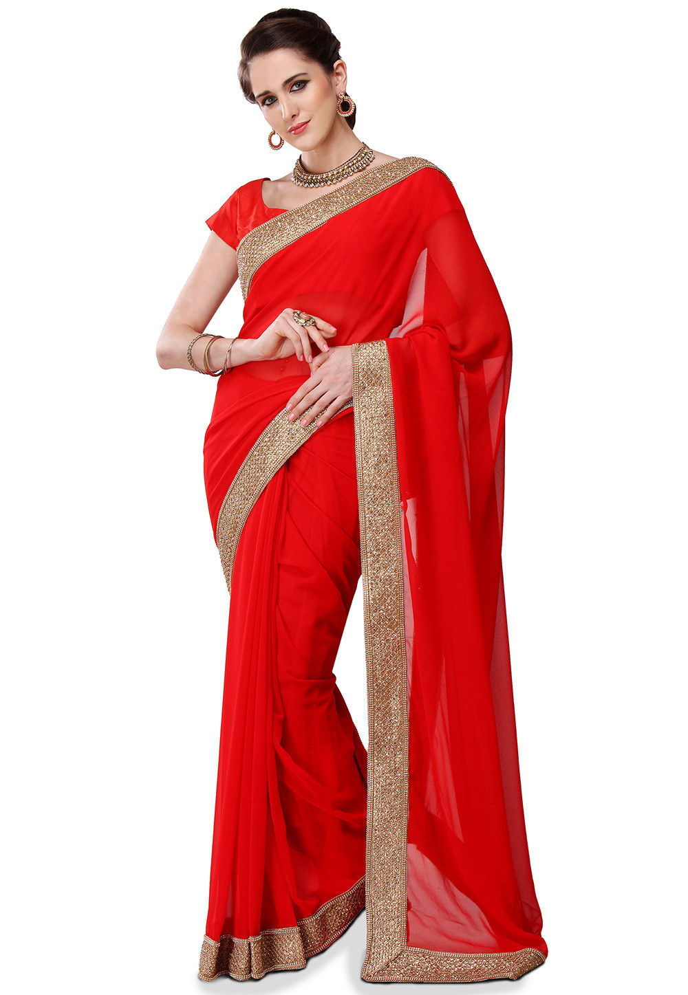 Embroidered Patch Border Viscose Georgette Saree in Red