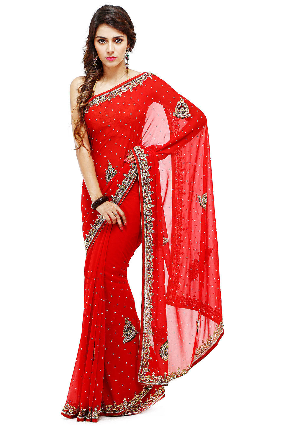 Hand Embroidered Georgette Saree in Red