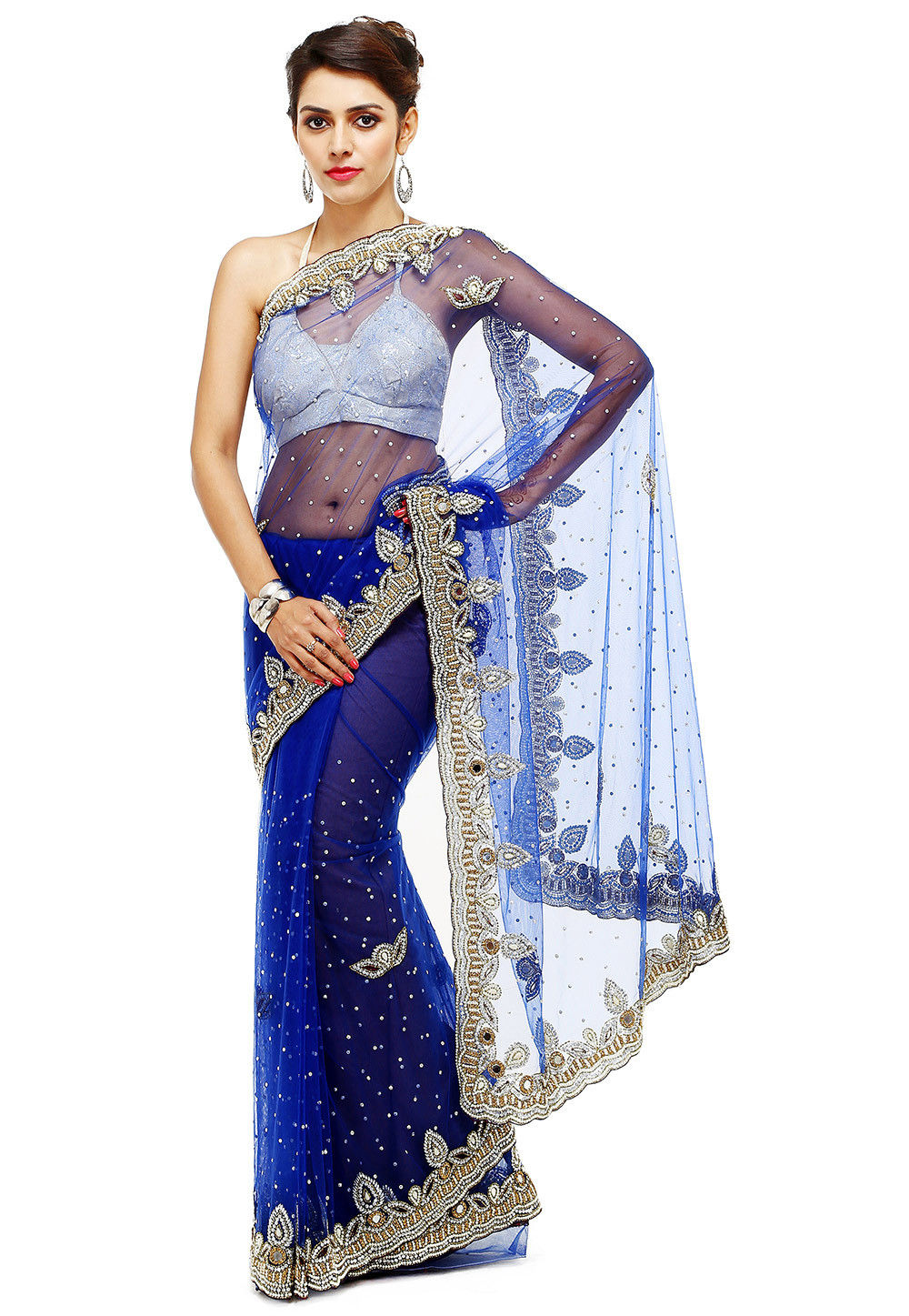 Hand Embroidered Net Saree in Blue